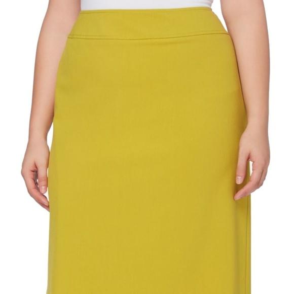 75ff196946d Tahari ASL Citron Green Pencil Skirt Plus Size 18W